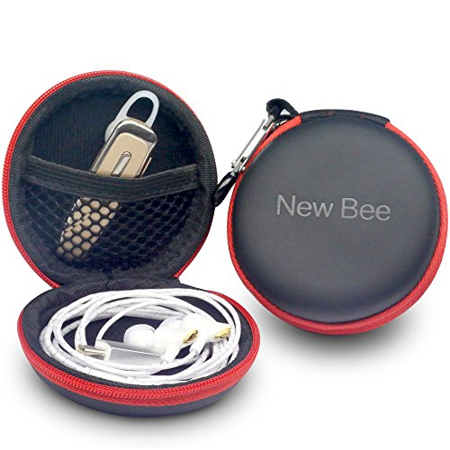 New Bee Headphone Headset Earphone Case High-end EVA Portable Protective Multipurpose Travel Holder Zipper Enclosure Storage Bag Case for Earphone Headset Earbuds Cable Key-Black(1-Pack)
