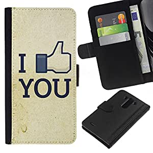 Ihec-Tech / Flip PU Cuero Cover Case para LG Optimus G3 - Funny I Like You