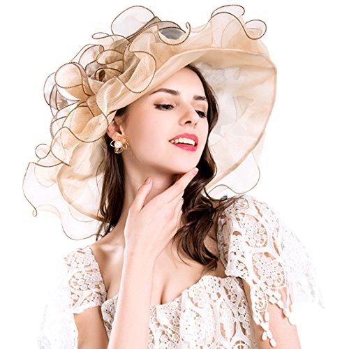 (Women Foldable Organza Church Derby Hat Ruffles Wide Brim Summer Bridal Cap for Wedding Tea Party Beach (Gold))