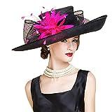 HomArt Women's Wide Brim Church Kentucky Derby Cap British Tea Party Wedding Hat, Dark Navy White, Black Fucshia
