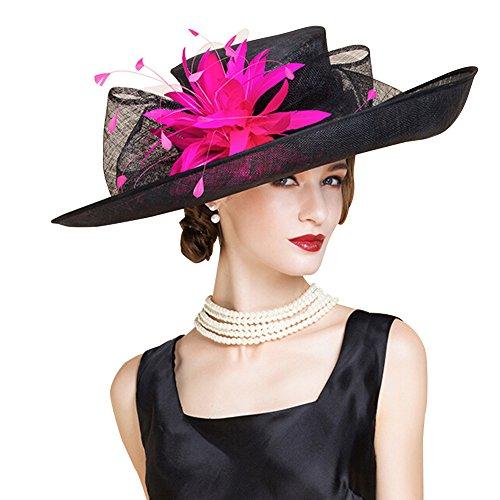 HomArt Women's Wide Brim Church Kentucky Derby Cap British Tea Party Wedding Hat, Dark Navy White, Black Fucshia by HomArt