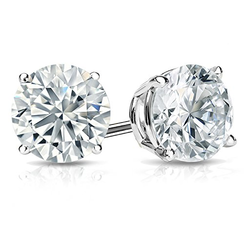 18k Gold Round Diamond Stud Earrings 4 Prong Basket Screw Backs (1/4 2 cttw, H I Color, I1 I2 Clarity)