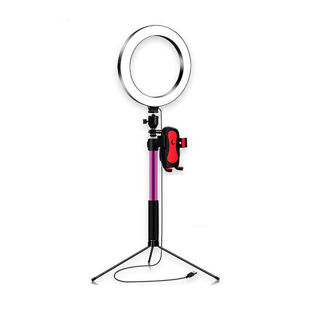 ZC Dawn Selfie Ring Light with Tripod Stand and LED Camera Selfie Light Ring Phone Holder, Compatible with iOS and Android Phone,Pink,A by ZC Dawn