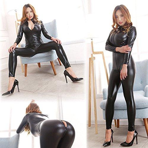 Love Secret Catsuit Women Bodysuit Zip up Clubwear Stripper Costumes Wet Look Zipper Front Cat Suit (Bondage Costume)