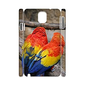 3D Samsung Galaxy Note 3 Cases Colorful Parrots, [White]