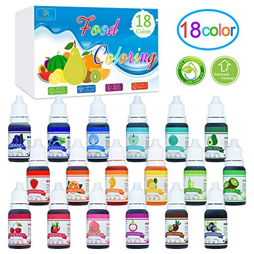 - 18 Color Food Coloring - Liquid Cake Food Coloring Set for Baking, Decorating, Fondant and Cooking - Rainbow Icing Food Colors Dye for DIY Slime Making and Crafts - .38 fl. oz. Bottles