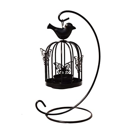Hosaire 1X Candelabros Arte de Hierro Jaula de pájaros Negro ...