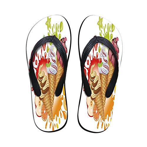(Ice Cream Decor Printing Flip Flops,Various Flavor Summer Dessert with Peach Apricot Strawberry Sorbet Print Decorative for Home or Holiday,US Size 9)
