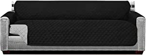 Sofa Shield Patent Pending Sofa Slipcover, Reversible, Easy Fit, Oversized 88 Inch Seat Width, Furniture Protector with Straps, Thick and Durable Couch Slip Cover Throw for Pet Dogs, Kids, Black Gray