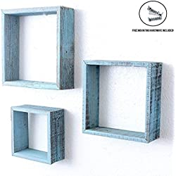 BarnwoodUSA | Rustic Farmhouse Floating Box Shelves | Made of 100% Reclaimed and Recycled Wood | Open Shadow Box Style To Display Pieces or Show Off By Themselves | Turquoise