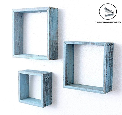 - BarnwoodUSA | Rustic Farmhouse Floating Box Shelves | Made of 100% Reclaimed and Recycled Wood | Open Shadow Box Style to Display Pieces or Show Off by Themselves | Turquoise