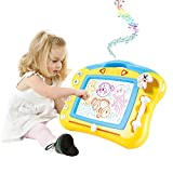 Magnetic Drawing Board For Kids - 4 Color Zone Erasable Magna Doodle Pad For Educational Sketching – Great Gift For Boys And Girls 3+ - Yellow With Sounds