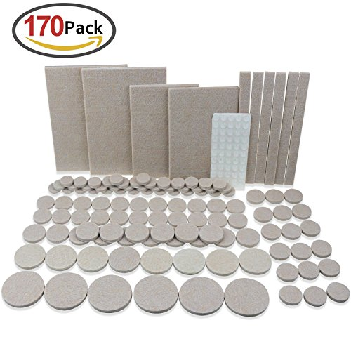 Homder 120 PCS Premium Furniture Pads Stick Grey Furniture Felt Pads For Hardwood Floors Protection, and 50 PCS Heavy Duty Self-Adhesive Clear Rubber Bumper Pads Noise Dampening