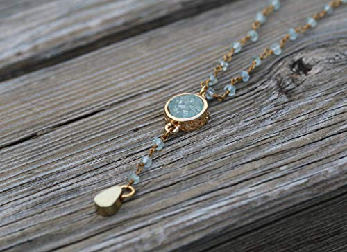 Dainty Beaded Aquamarine Gemstone Y Necklace for Women on a Gold Plated Brass Chain, Delicate Handmade Designer Jewelry Bridesmaid & Birthday Gift ()