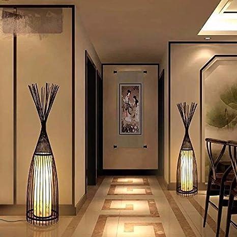 hot sale online e7eb7 11b01 Floor Lamp Lights Bamboo Woven Lighting Lamps Black Modern ...