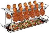 Sorbus Chicken Leg Grill Rack 12 Slot – For Chicken Legs or Wings – Chicken Drumstick Roaster for Oven, Smoker, or Grill, Great for Barbeques, Picnics (Chicken Grill Rack - Silver)