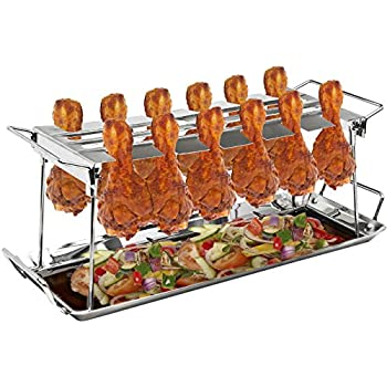 Sorbus Chicken Leg Grill Rack 12 Slot – Multi-Purpose for Chicken Legs or Wings – Chicken Drumstick Roaster for Oven, Smoker, or Grill, Great for Barbeques, Picnics, etc, Non-stick Surface, Steel