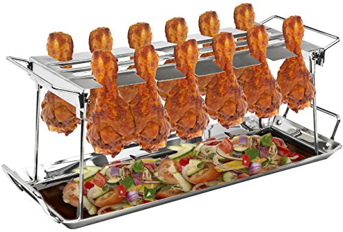 Sorbus Chicken Leg Grill Rack 12 Slot - for Chicken Legs or Wings - Chicken Drumstick Roaster for Oven, Smoker, or Grill, Great for Barbeques, Picnics (Chicken Grill Rack - Silver)