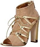 Alejandro Ingelmo Women's Melrose Ankle Bootie, Beige/Gold, 37 EU/6 M US