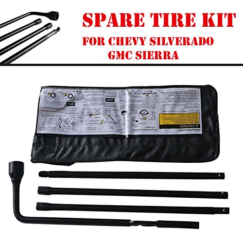DICN Spare Tire Kit for Chevy Silverado GMC Sierra with Carry Case Iron Tool Lug Wrench Extension Replace 22969377 22925285 20782706