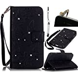For LG G5 (2016) Case,Vandot 3in1 Set Premium [Emboss Flower Butterfly] PU Leather Bling Diamond Rhinestone Wallet Case with Wrist Strap Flip Folio Stand Magnetic Closure Cover Skin Shell-Black