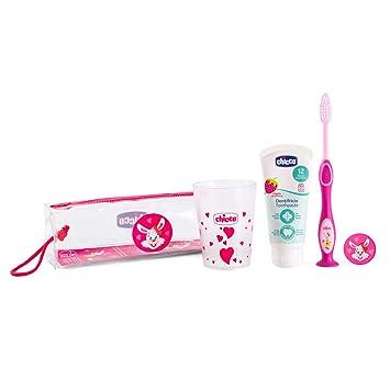 Chicco - Set cepillo de viaje: cepillo d edientes + pasta + estuche + vaso, color rosa