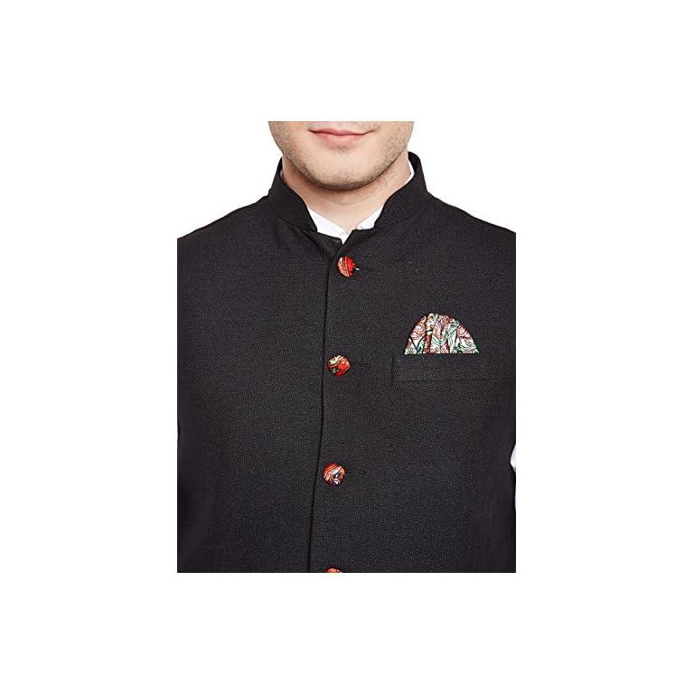 51jWmIZWoqL. SS768  - WINTAGE Men's Linen Blend Grandad Nehru Jacket Vest Waistcoat