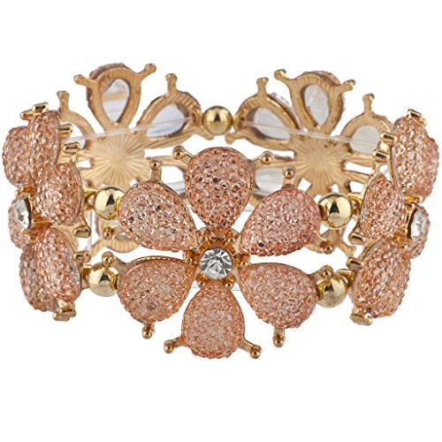(Lux Accessories Gold Tone Light Peach Blush Flower Floral Stretch Bracelet)