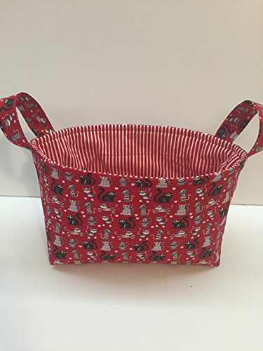 Handmade basket Red Kitty Cat,Storage Bin, Fabric Caddy, Fabric Basket, Fabric Organizer,Project Caddy,Ready to Ship