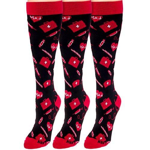 LISH 15-25mmHG Graduated Compression Socks 3 Pack (Medica...