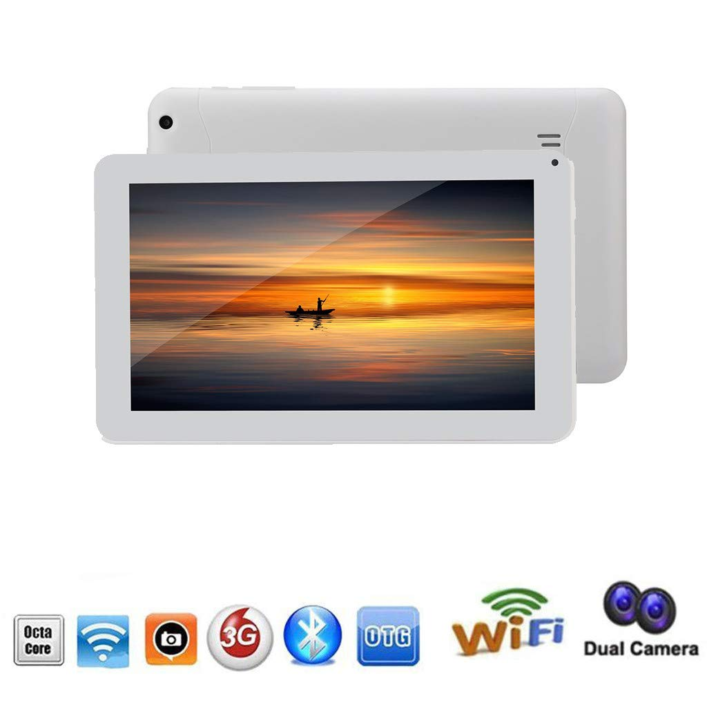 9'' Display,HD QUAD CORE, 16GB, Dual Camera, WiFi 3G Android 4.4 Tablet,With Headphone-White