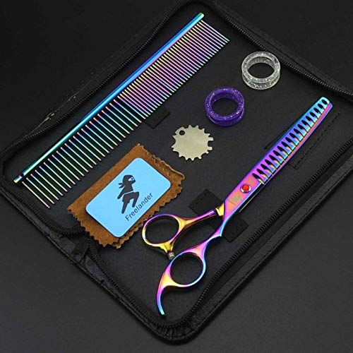 Shoppy Star  Professional Shears Dog Pet Grooming 7.0inch Thinning Scissors Polishing Tool Animal Haircut Suppliers Instruments colorful