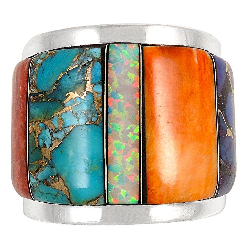 Wide Statement Ring in Sterling Silver Genuine Turquoise & Gemstones (SELECT color) (Multi, (Genuine Multi Gems)