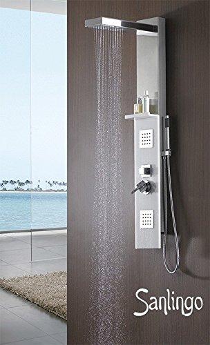 Duschpaneel Gebürsteter Edelstahl Jade Glas Duschsäule mit Massagedüsen von Sanlingo