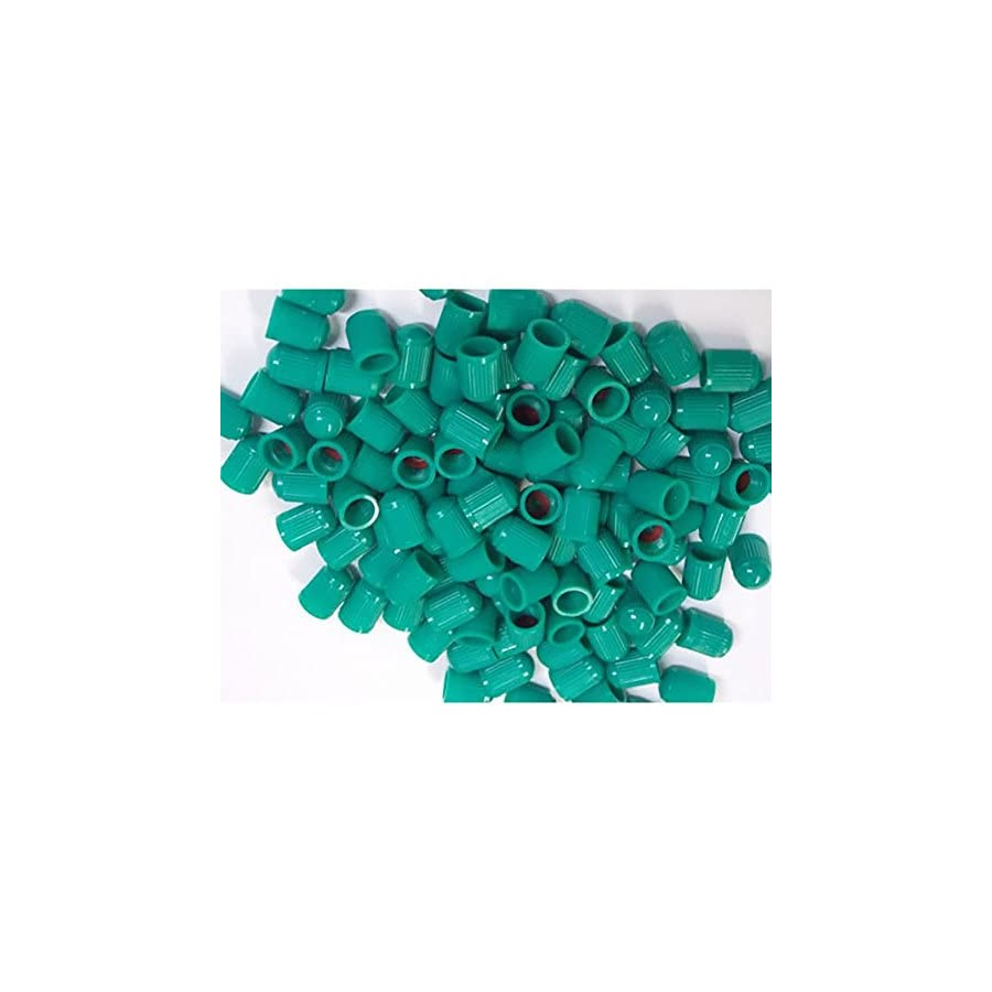 """mySimple Products (100 Count)""""Classic Simple with Easy Grip Texture"""" Valve Stem Dust Cap Seal Made of Hardened Rubber {Green Color Hard Plastic Internal Threads for Easy Application Rust Proof }"""
