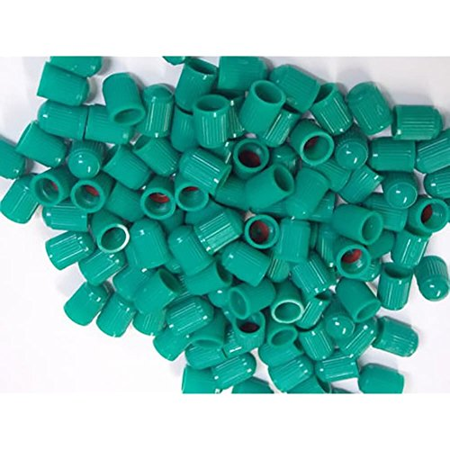 "(100 Count)""Classic Simple with Easy Grip Texture"" Valve Stem Dust Cap Seal Made of Hardened Rubber {Green Color Hard Plastic Internal Threads for Easy Application Rust Proof }"