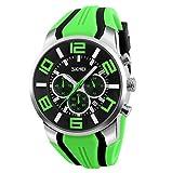 Reloj Deportivo de Moda para Hombre - Banda de Silicona Subdiálogos Cronógrafo Fecha Analógica Reloj de Pulsera de Cuarzo para Hombre, Verde