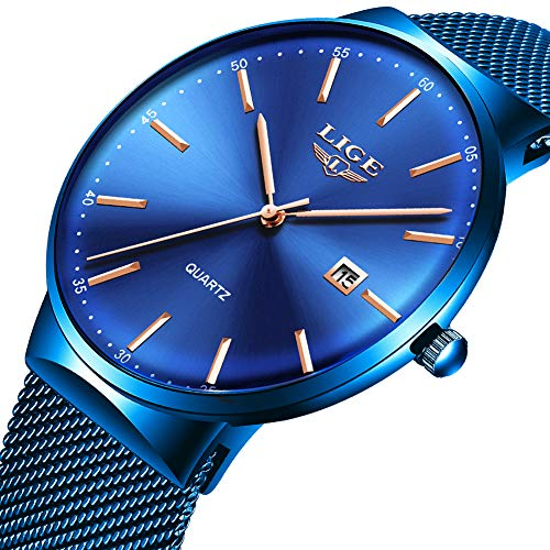 LIGE Men's Watch Fashion Blue Busniess Wristwatches Stainsteel Steel Band Watch Waterproof Analog Quartz Casual Watch Date Mesh Band Watch