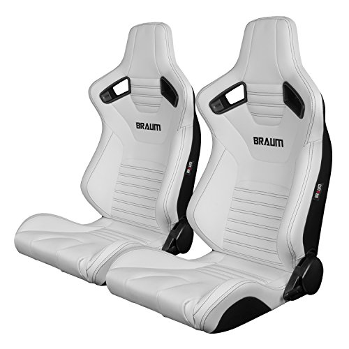 BRAUM - Pair of White Leatherette ELITE-X Racing Seats with Black Stitches (BRR1X-WHBS) ()