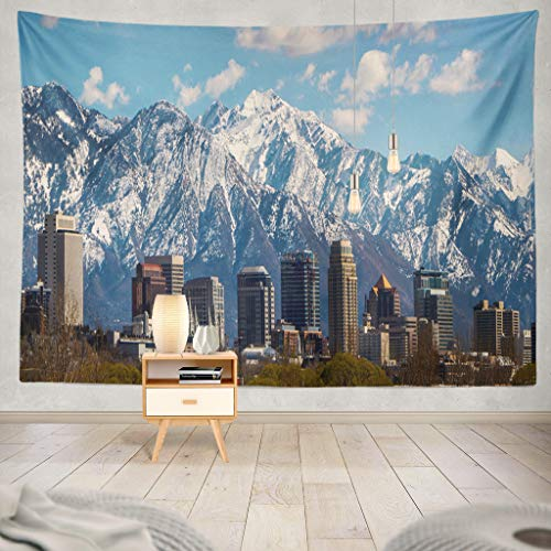 KJONG Salt Lake City Utah Skyline Mountains Downtown Mountains Salt Lake City Snow Mountains Decorative Tapestry,60X80 Inches Wall Hanging Tapestry for Bedroom Living -
