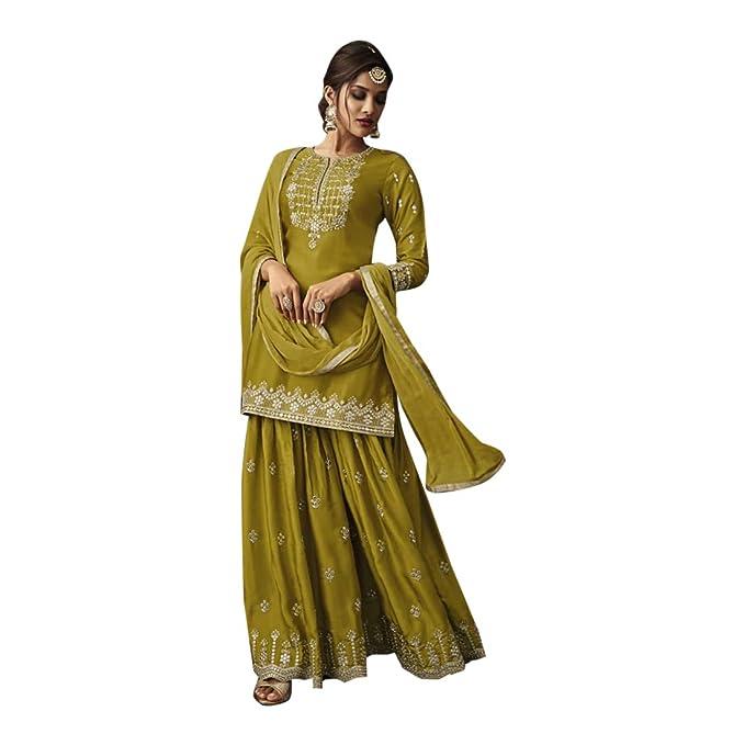 b84b650500 Eid special Festival Ethnic Designer Olive Salwar Kameez Suit Indian Muslim  Women Party wear Un-sew 7831: Amazon.ca: Clothing & Accessories