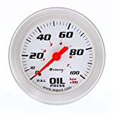 Equus 8244 2'' Mechanical Oil Pressure Gauge, White with Aluminum Bezel