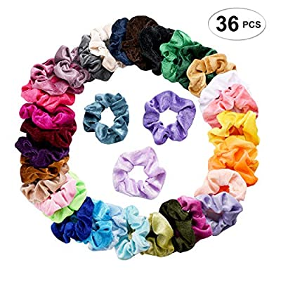 36 Pcs Hair Scrunchies Velvet Elastic Hair Bands Scrunchy Hair Ties Ropes Scrunchie for Women or Girls Hair Accessories - 36 Assorted Colors Scrunchies