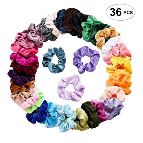 (SEVEN STYLE 36 Pcs Hair Scrunchies Velvet Elastic Hair Bands Scrunchy Hair Ties Ropes Scrunchie for Women or Girls Hair Accessories - 36 Assorted Colors Scrunchies (36 PCS Velvet Hair)