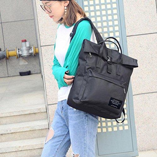 Sunyastor Women's Fashion Nylon Handbag School Bag Travel Backpack Bag High Capacity (Black, one Size)