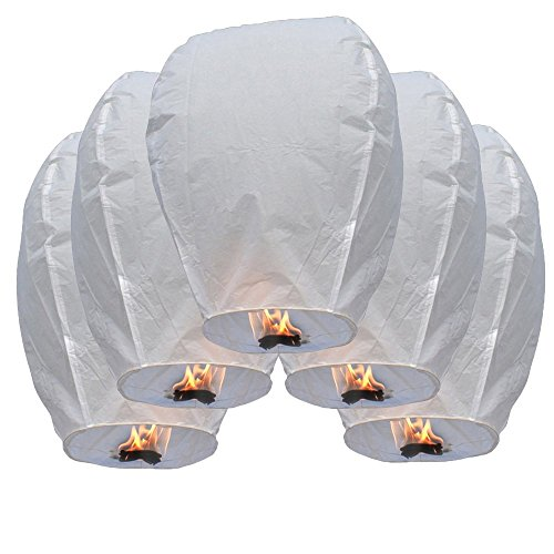 Teekland 50 Piece Fire Sky Lanterns, Chinese Paper Sky Flying, Wishing Lantern Lamp Candle, Party Wedding Wish Kongming Wish Lanterns,White