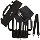 chef knife carry case - Chef Knife Roll Bag (6 slots) is Padded and Holds 5 Knives PLUS a Protected Pouch for Your Knife Steel! Our Durable Knife Carrier Includes Shoulder Strap, Handle, and Business Card Holder. (Bag Only)