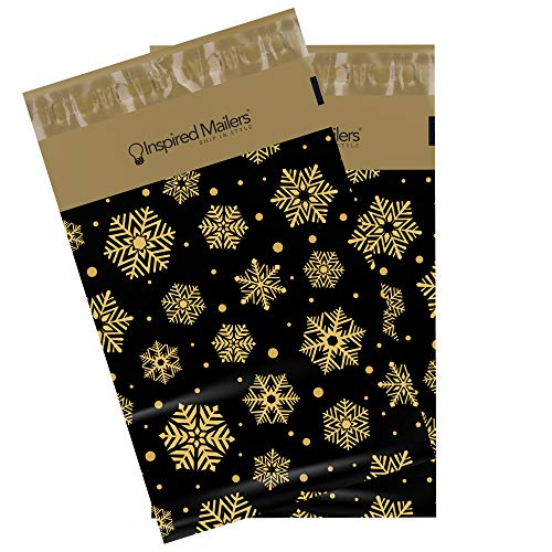 Inspired Mailers Poly Mailers 6x9 Deluxe Golden Snowflakes – Pack of 100 – Unpadded Shipping Bags