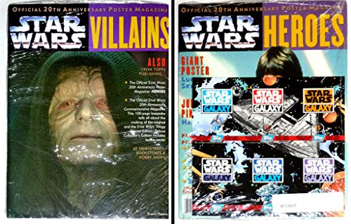 Star Wars Official 20th Anniversary Villains, Heroes & Commemorative Magazines - Deluxe Collector's Edition PLUS 6 Etched Foil Topps Trading Cards, Series Three, Chase Cards