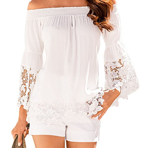 Eiffel Women's Off Shoulder Lace Trim Bell Sleeve Blouse T-shirt Crop Tops Classic Ruffle Capri Pajama